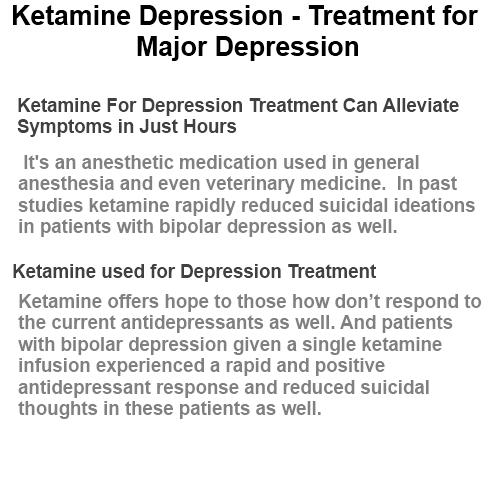 ketamine and treatment of depression