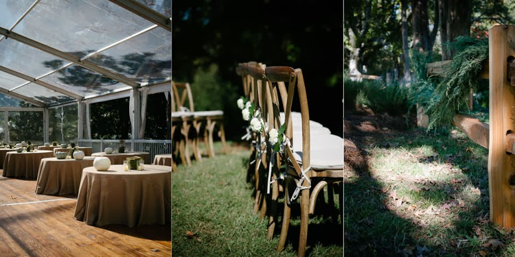 wedding day details that include burlap and tuscan cafe chairs