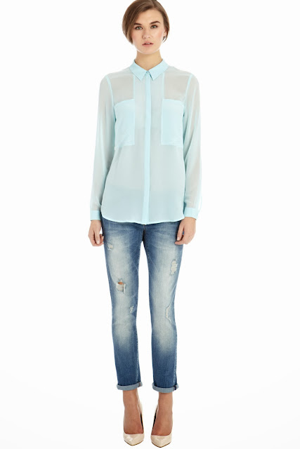 pale blue silk shirt