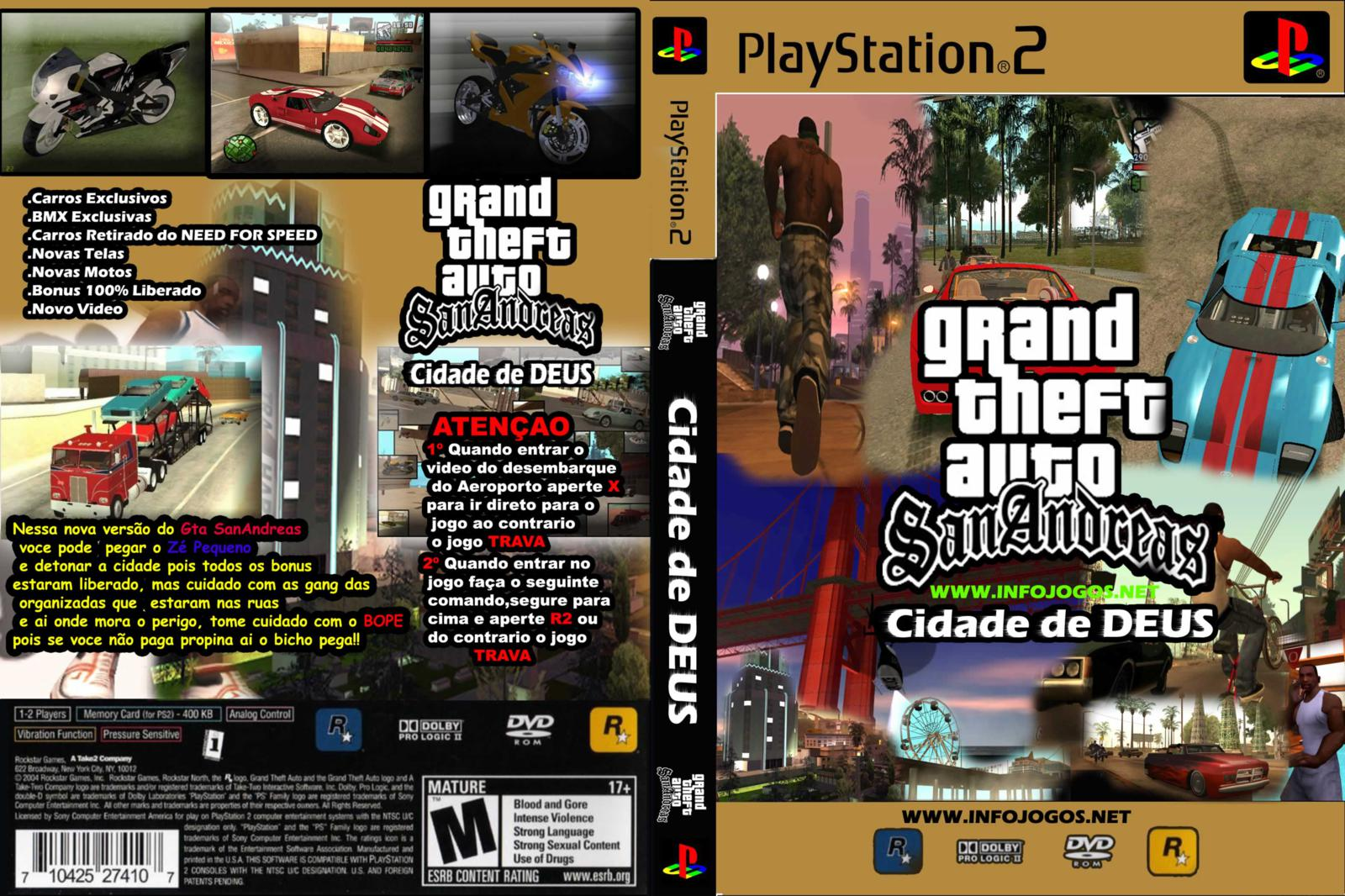 Capa Grand Theft Auto GTA San Andreas Cidade De Deus PS2