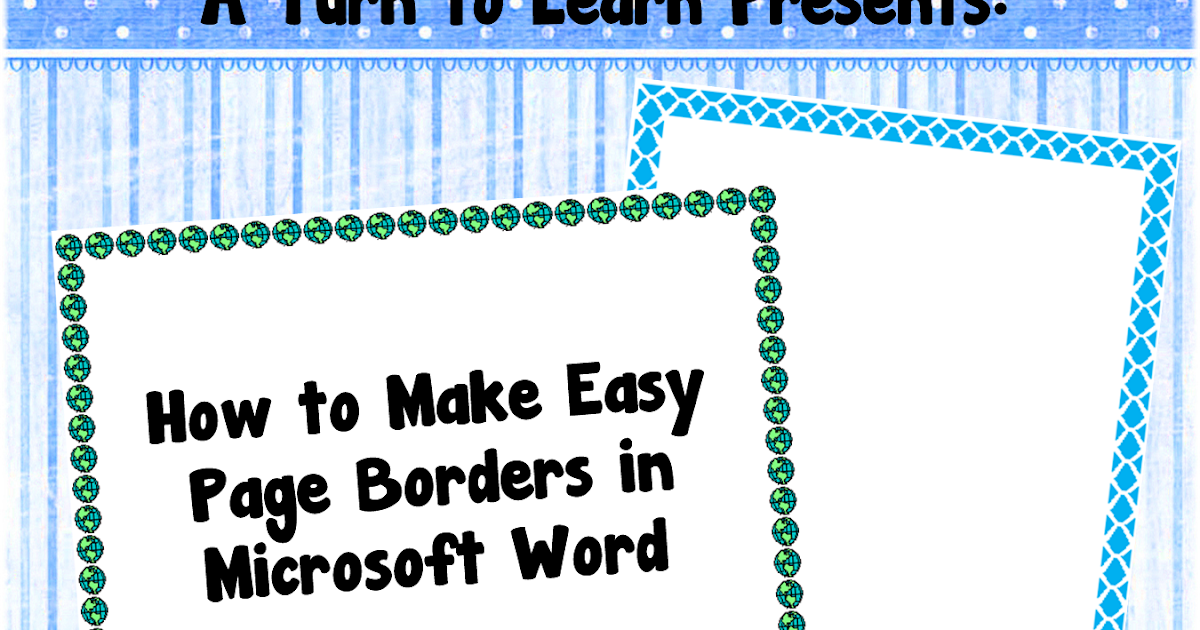 Classroom Freebies: How to Make Easy Page Borders in Microsoft Word