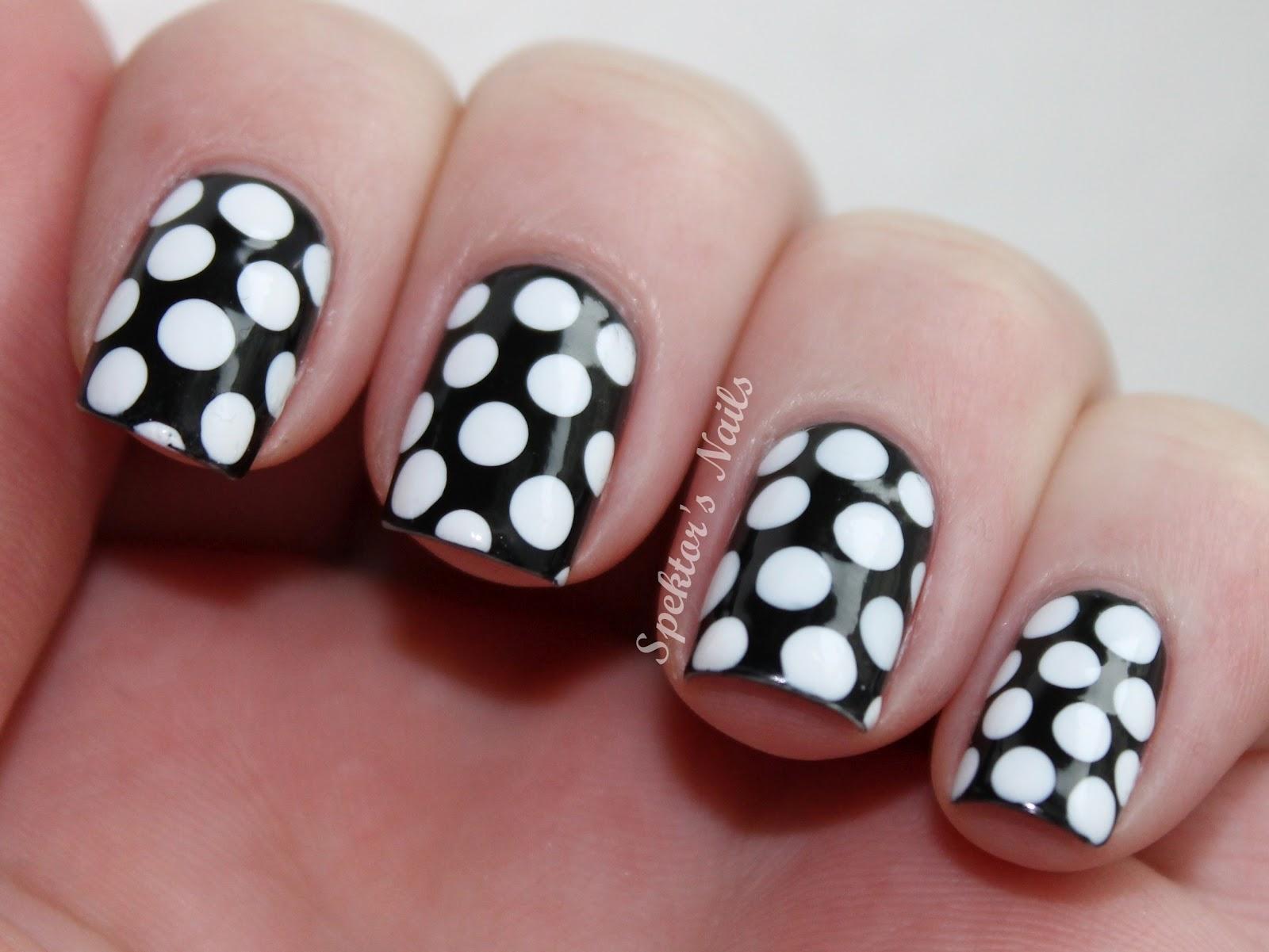 White stiletto nail designs car tuning - Black And White Polka Dot Nails