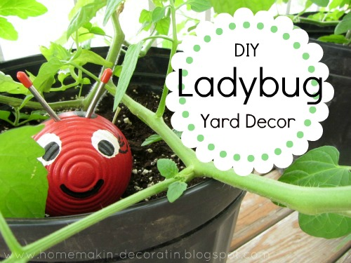 Homemakin and Decoratin: Ladybug Yard Decor from Croquet Balls