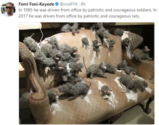 Ffk reacts to reports of rat invasion in president buhari office.