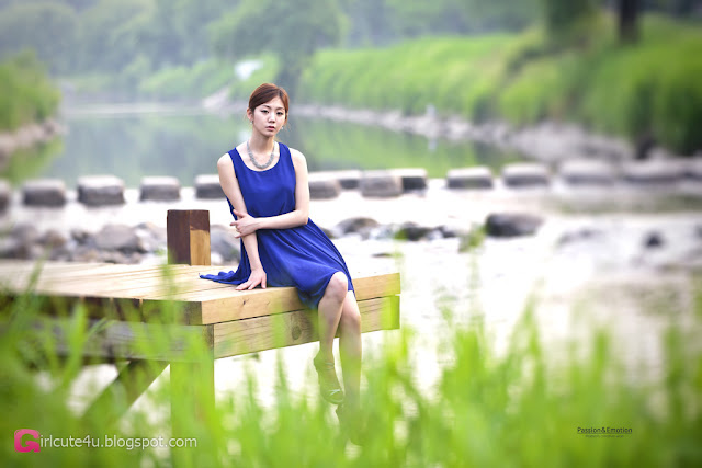 4 Chae Eun in Blue - very cute asian girl - girlcute4u.blogspot.com