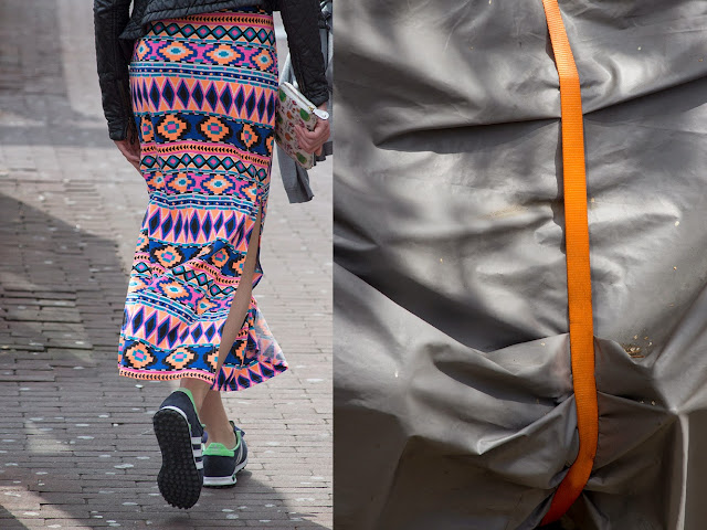 colourful long skirt and orange ribbon