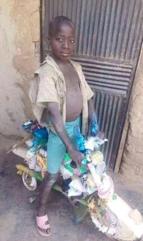 News : 7yr old boy got a real bycycle after a photo of the one he made went viral on twitter [ Photos ]