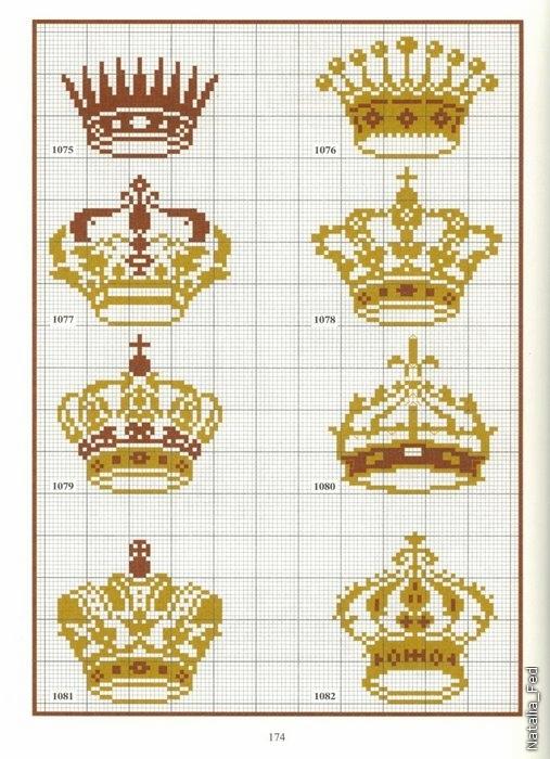 Короны - цветные схемы вышивки