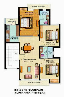 omaxe silver birch 3bhk 1150fq.ft  1st & 2nd
