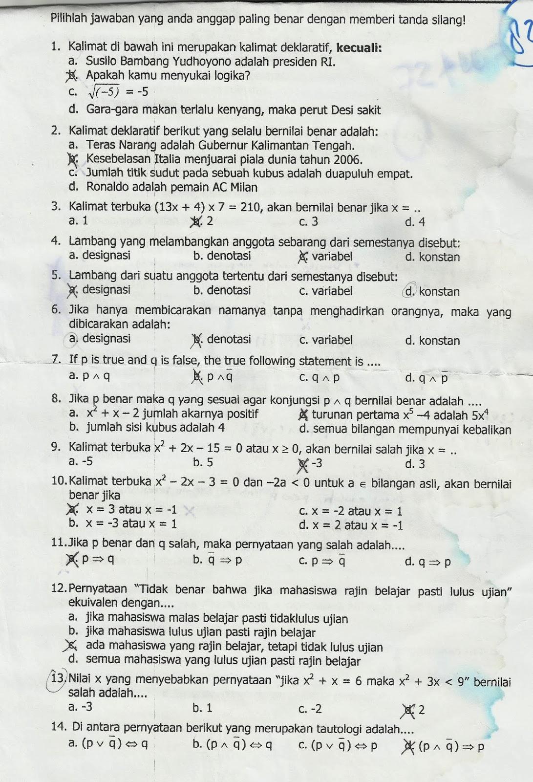 Soal Ujian Tengah Semester Mata Kuliah Pengantar Dasar Matematika Heru Winarko