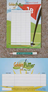 Minigolf scorecard and pencil from the Adventure Golf course in St Nicholas Park, Warwick