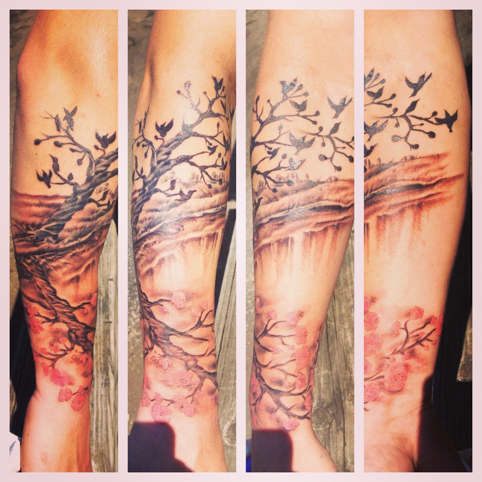 Cherry Blossom Tattoo Leg Birds and cherry blossoms.