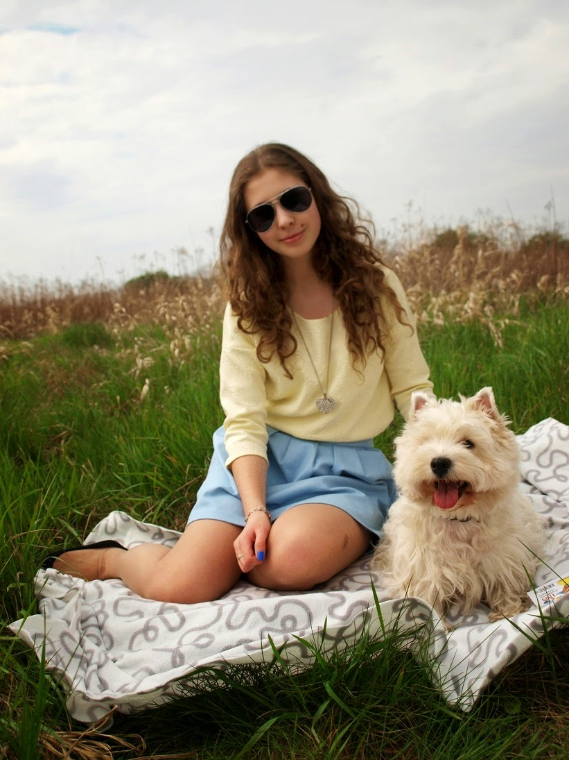 Baby blue skirt and yellow blouse