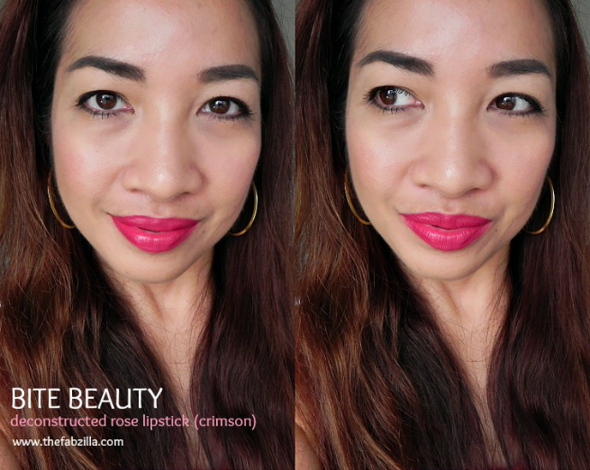 bite beauty deconstructed rose crimson review, swatch