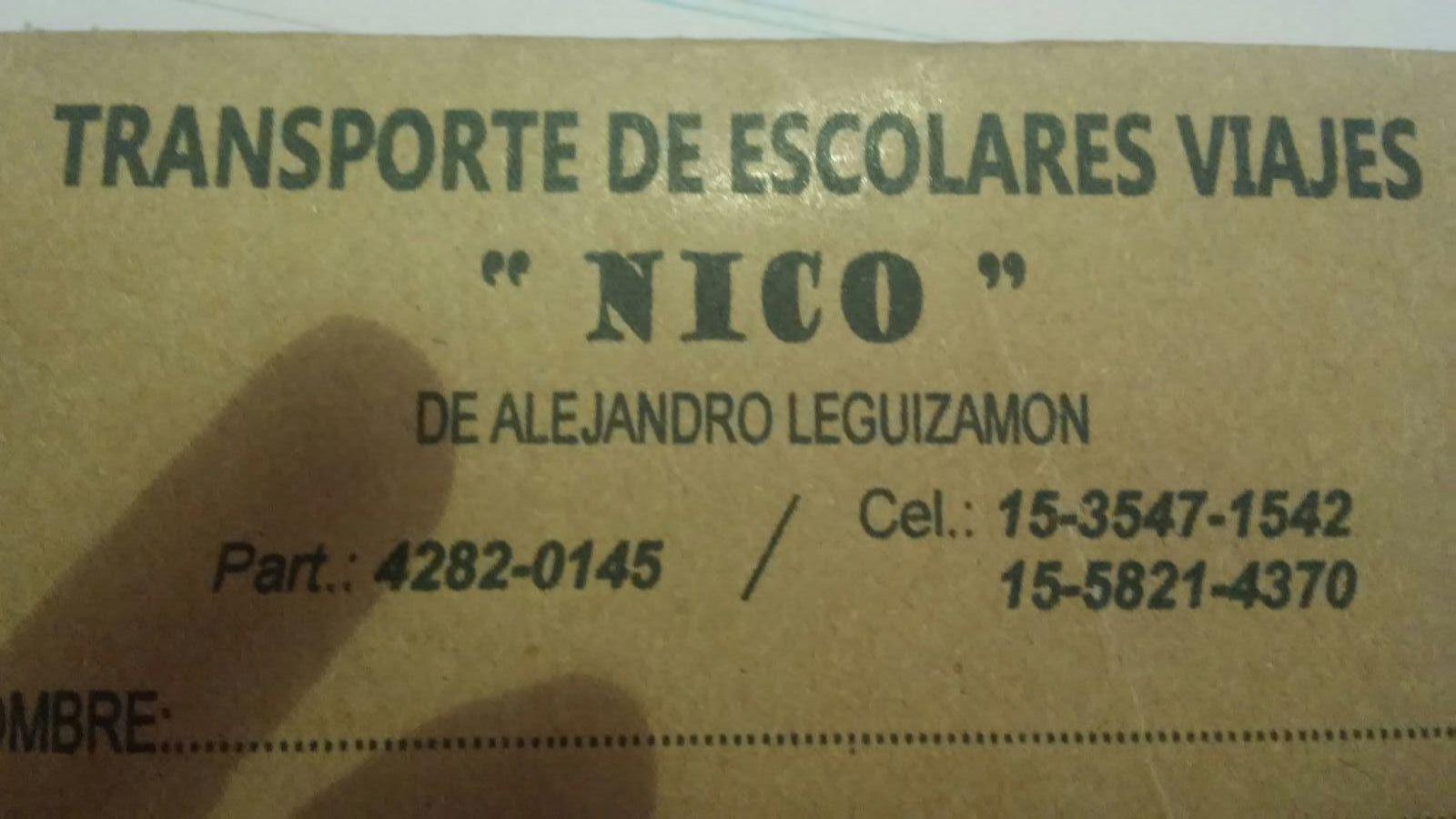 """TRANSPORTE DE ESCOLARES Y VIAJES """"NICO"""""""