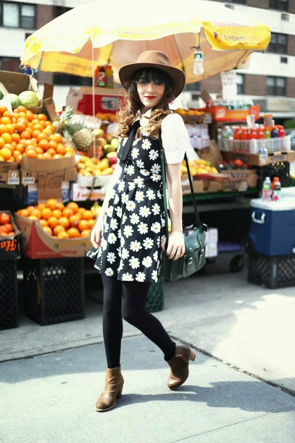 Layering and Daisy Print Dress
