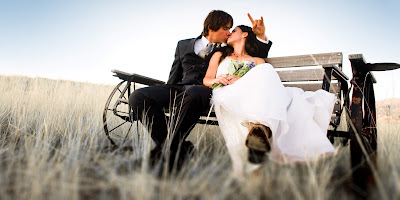 Romantic Couple Wedding Kiss