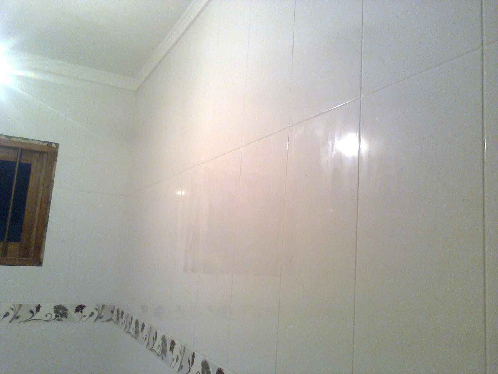 Banheiro Simples: piso e azulejos na vertical. #594F3F 1600x1200 Azulejo Banheiro Simples