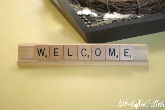 scrabble tile welcome sign