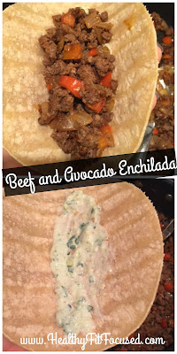 Beef and Avocado Enchiladas, Healthy Recipe, 21 Day Fix Approved,  www.HealthyFitFocused.com