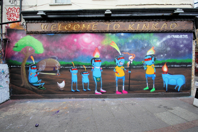 Street Art Mural By Brazilian Artist Cranio In East London, UK.