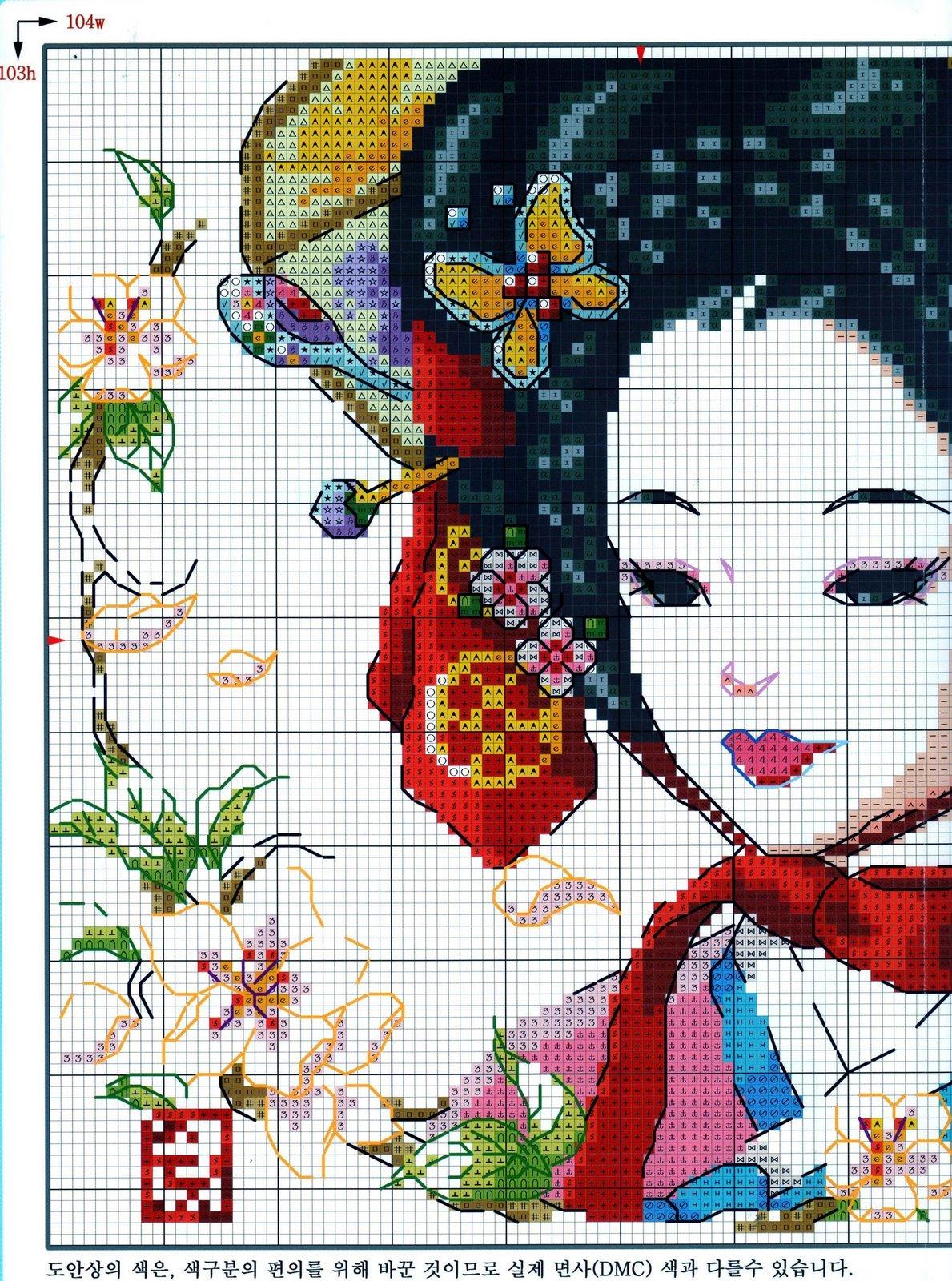 Крестик вышивка схемы японские мотивы