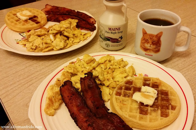 bacon and eggs, waffles and syrup, breakfast, brunch,