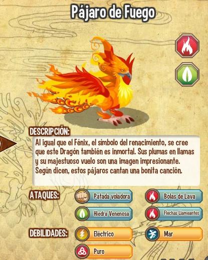 todas las estadisticas del dragon pajaro de fuego
