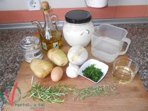 Ingredientes para las patatas a la importancia.