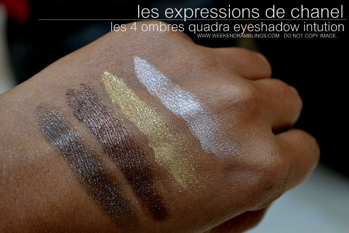 Les Expressions de Chanel Makeup Collection 4 Ombres Quadra Eyeshadow Palette Intution Swatches Indian Beauty Blog