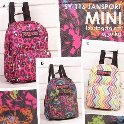 jual online tas ransel cantik jansport mini motif terbaru