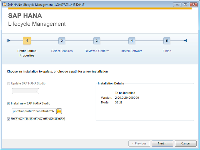 Location where you want the HANA Studio to be installed