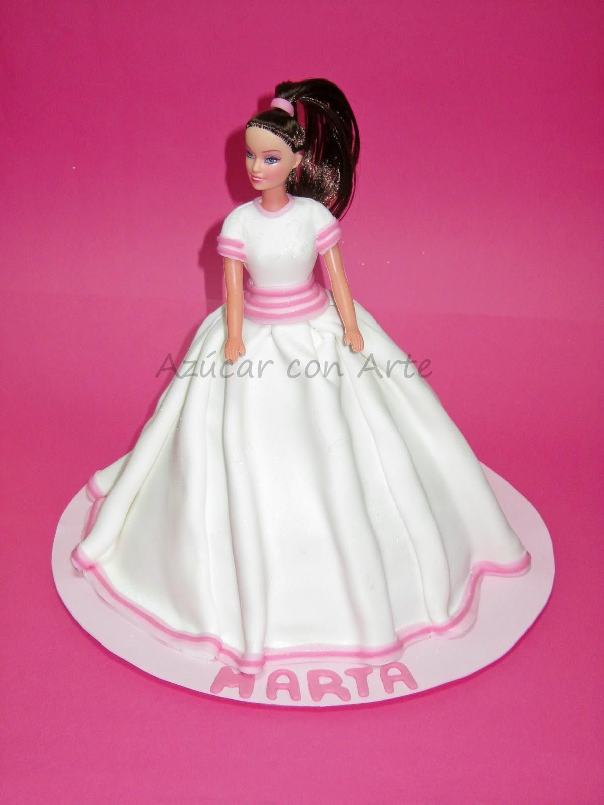 tarta barbie, tarta princesa, tarta comunion, barbie cake, princess cake, tarta sin gluten, gluten free cake| azucar con arte