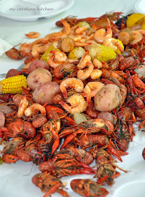 My carolina kitchen an authentic cajun crawfish boil at for Authentic cajun cuisine