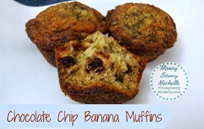 Chocolate Chip Banana Muffins   http://www.smartsavvyliving.com