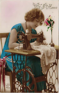 Vintage postcard image of woman sewing