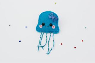 Blue Jellyfish Brooch, Sea Creature, Felt Pin Pretty New