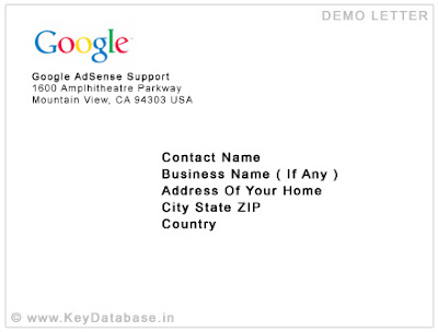 Google AdSense PIN Verification Letter