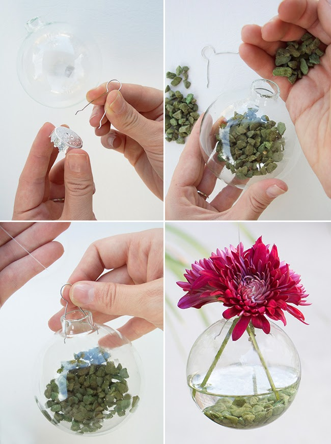 5 minute diy hanging vases from ornaments for Home made decoration pieces