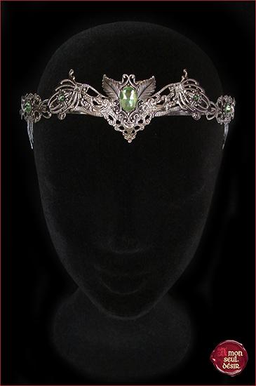 Couronne elfique végétal elfe forêt vert floral mariage wicca dame nature tiare féerique diadème fée nymphe dryade