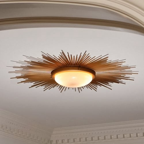 Arcadian Home   Global Views Sunburst Gold Modern Flush Mount Ceiling Light