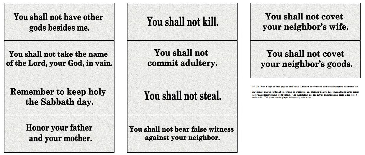 catholic 10 commandments games