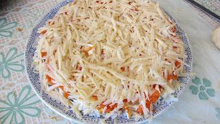 морковный и сырный слои мимозы
