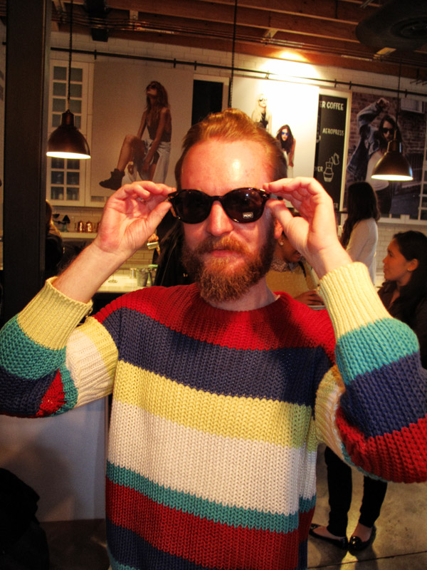 ROC sunnies and Hipster Style, bold stripped cotton knit jumpers; ROC Eye Wear SS 12/13 sunglasses Launch