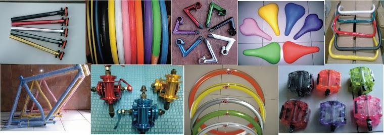 part fixie murah meriah / frame / fork / headset / crank / hub / pedal / sadel / rims / ban