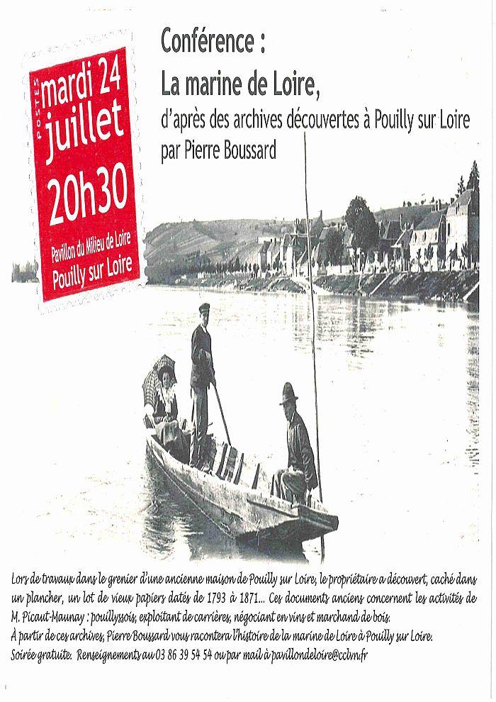 Conférence: la marine de Loire mardi 24 juillet à 20h30