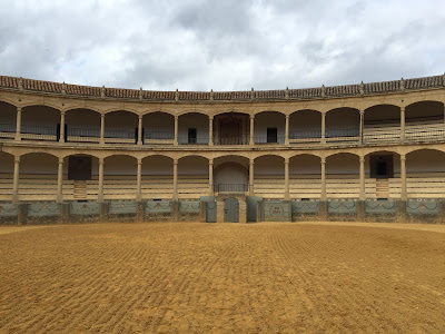 Views of the Plaza de Toros de la Real Maestranza de Caballería de Ronda bullring.