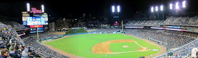 night game at comerica park, detroit tigers, stadium, panorama