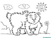 Mewarnai Gambar Anak Beruang