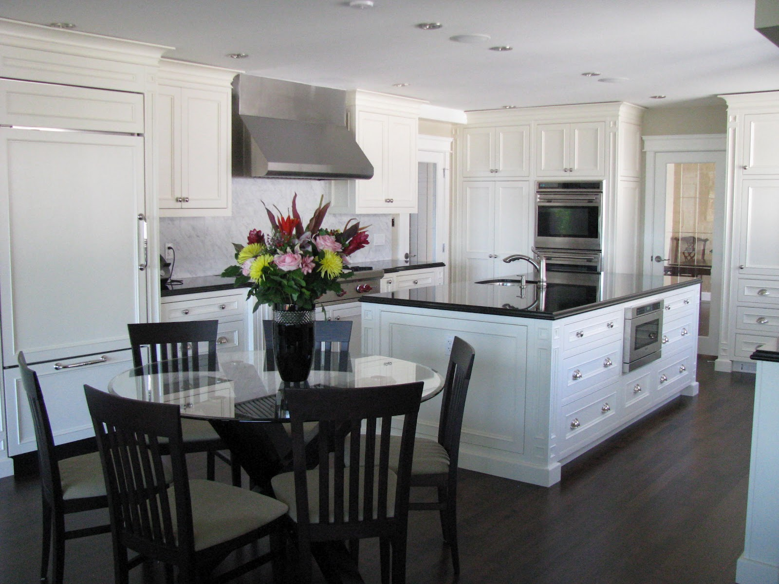 Kitchen Cabinets with Dark Floors and White